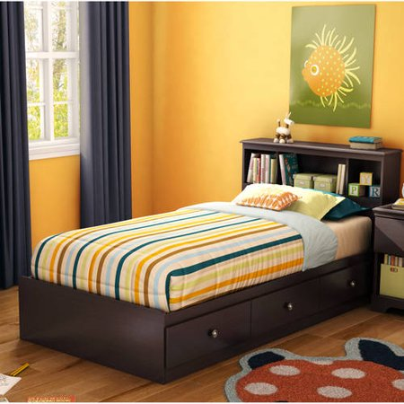 South Shore Zach Twin Storage Bed and Headboard, (Bed Twin Chocolate)