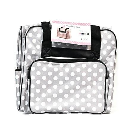 Fashion Polka Dot Tote - Hemline Dotty Gray Polka Dots Serger Overlock Tote Bag