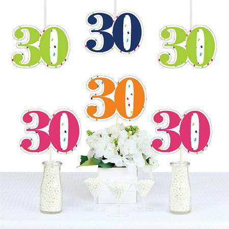 30th Birthday - Cheerful Happy Birthday - Thirty Shaped Decorations DIY Colorful Thirtieth Birthday Party Essentials - Set of 20](Dirty Thirty Birthday Decorations)