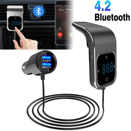 Car Bluetooth FM Transmitter Radio Adapter, Air Vent Wireless Bluetooth 4.2 FM Radio Transmitter Adapter Handsfree Calling Dual USB Car Charging Port Mobile Audio Devices ()