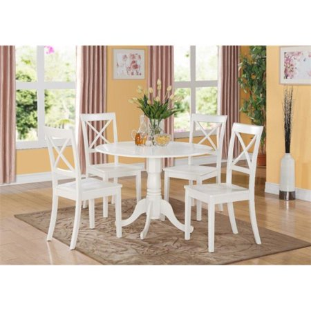 East West Furniture DLBO3-WHI-W 3PC Kitchen Round Table with 2 Drop Leaves and 2 X -back Chairs with wood Seat Kitchen Furniture Wood