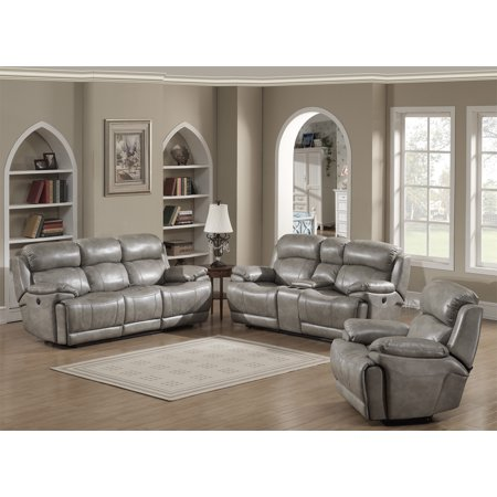 - Estella Collection Contemporary 3-Piece Upholstered Leather Living Room Set with a Recliner Chair, Sofa and Loveseat with Storage Console and Cup Holders, Gray