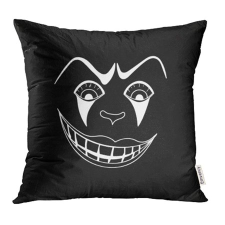 USART Character White with Scary Clown Face on Black Autumn Cartoon Circus Creepy Dead Pillow Case Pillow Cover 16x16 inch Throw Pillow Covers