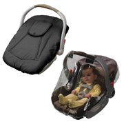 Jolly Jumper Arctic Sneak A Peek Infant Car Seat Cover with Car Seat Rain Cover, Black