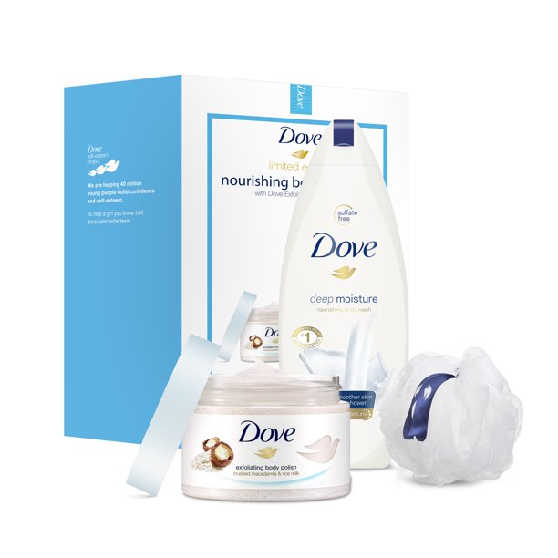Dove 3-Pc Beauty Gift Set Macadamia & Deep Moisture with BONUS Pouf (Body Polish, Body Wash)