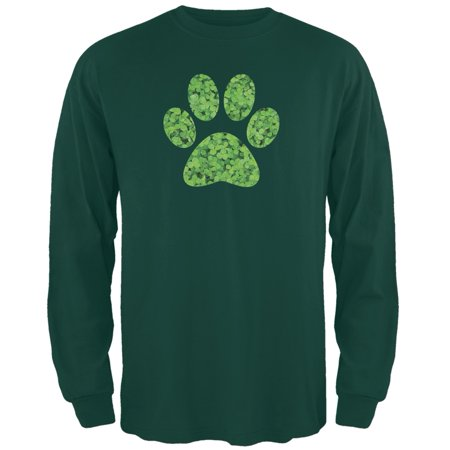 St. Patricks Day - Dog Paw Forest Green Adult Long Sleeve T-Shirt - St Patricks Day Tshirt