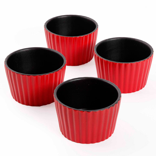 "Crock Pot Alfio 4"" Ribbed Ramekins, 4-Piece Set, Red"