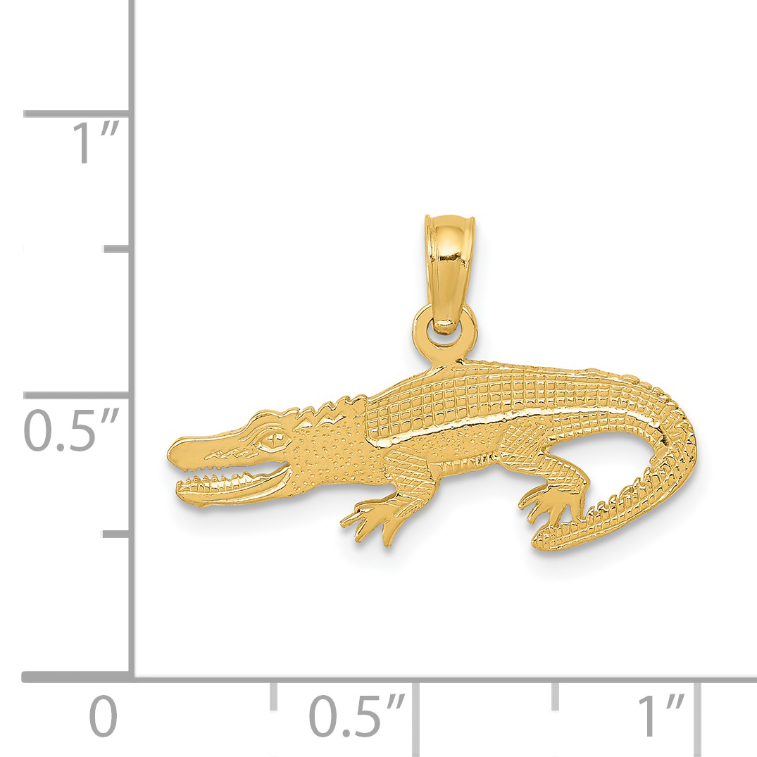 14k Yellow Gold Textured Alligator Pendant Charm Necklace Animal Crocodile Man Fine Jewelry Gift For Dad Mens For Him - image 1 of 2