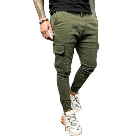 OpCgev Men's Casual Pockets Solid Color Skinny Pants