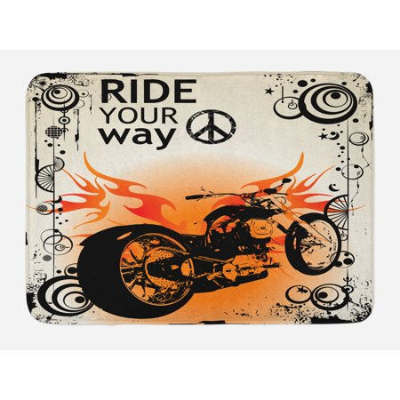 Manly Bath Mat, Motorcycle Image with Ride Your Way Text Peace Sign Freedom Action Freestyle, Non-Slip Plush Mat Bathroom Kitchen Laundry Room Decor, 29.5 X 17.5 Inches, Black Orange Cream, Ambesonne