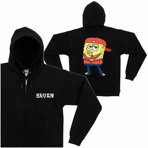Personalized SpongeBob SquarePants Play it Cool Kids' Black Zip-Up Hoodie
