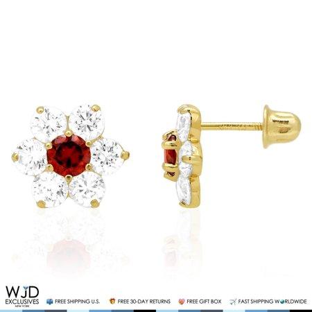 14k Solid Yellow Gold Diamond & Garnet Flower Screwback Stud Earrings 2Ct
