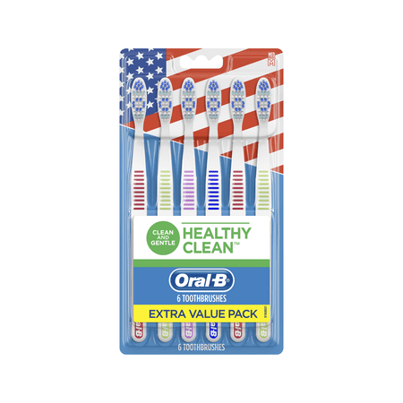 Oral-B Healthy Clean Toothbrush, Medium, 6 Count