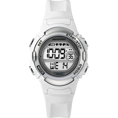 Marathon Women's Digital Mid-Size White/Silver-Tone Watch, Resin Strap