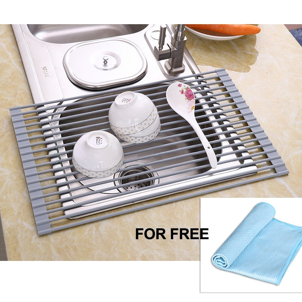 NEX Over The Sink Dish Multifunctional Drying Rack, Foldable Kitchen Drying  Mat, Free Cloth