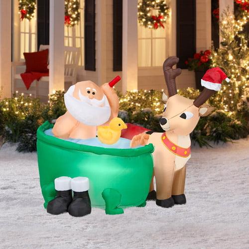 4.5' Tall x 4' Long Airblown Santa in Bathtub Christmas Inflatable