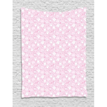 Baby Tapestry, Newborn Girl Clothes with Checkered Background Hearts Stars Flowers Dresses and Hats, Wall Hanging for Bedroom Living Room Dorm Decor, 40W X 60L Inches, Pink White, by Ambesonne - Flowers For Dresses