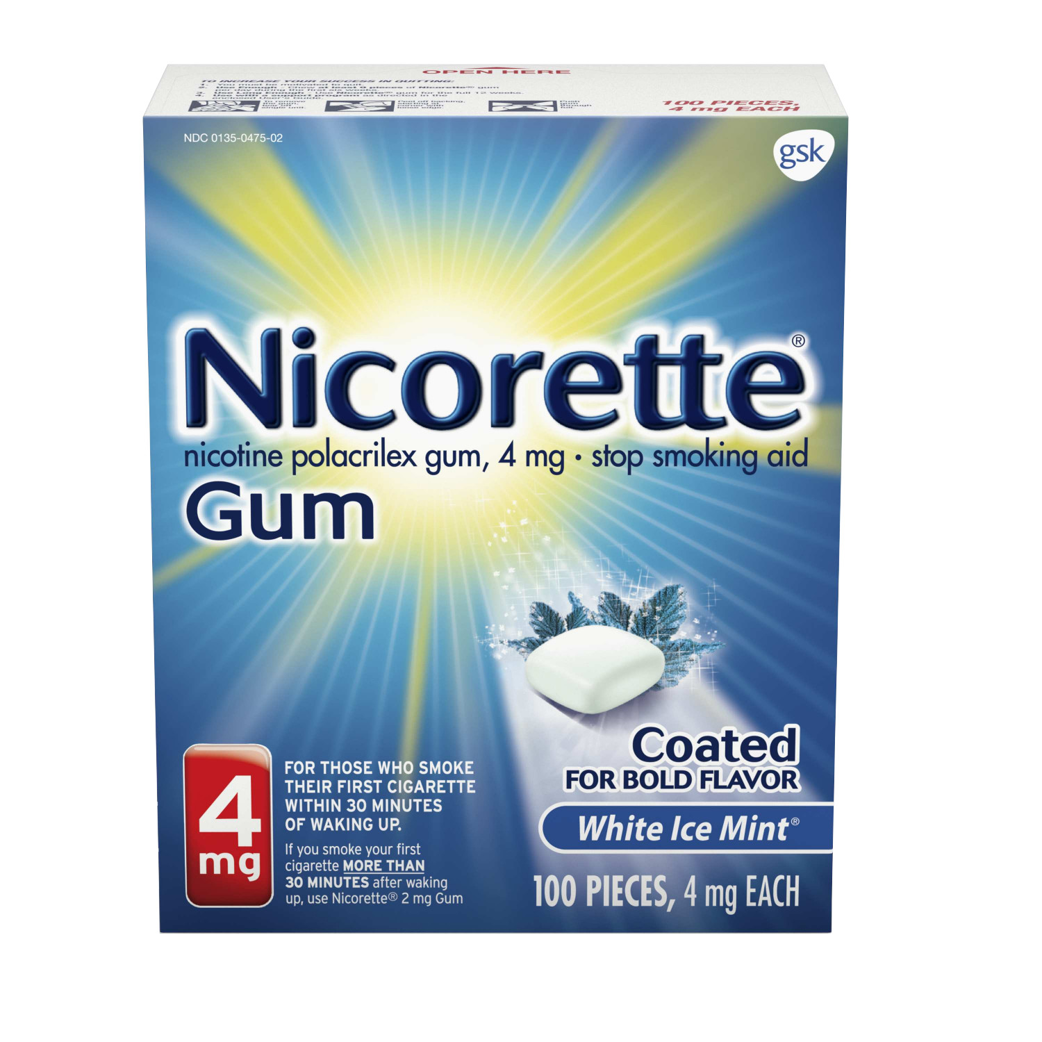 Nicorette Nicotine Gum, Stop Smoking Aid, 4 mg, White Ice Mint Flavor, 100 count