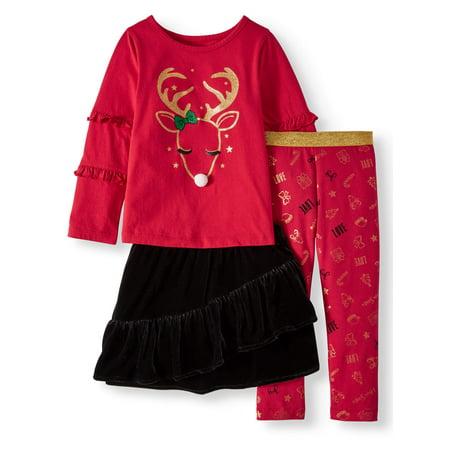 Christmas Long Sleeve T-Shirt, Leggings & Tutu, 3pc Outfit Set (Toddler Girls)
