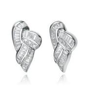 Collette Z  Sterling Silver Cubic Zirconia Shell Earrings