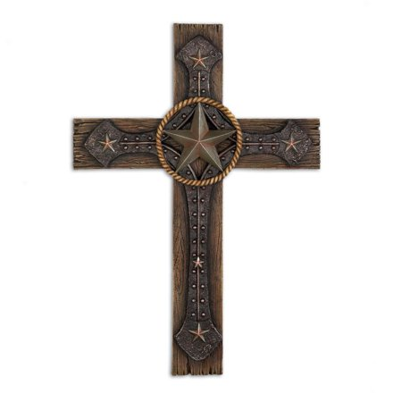 Wall Cross, Polyresin Rustic Home Wall Cross Decorations Plaque
