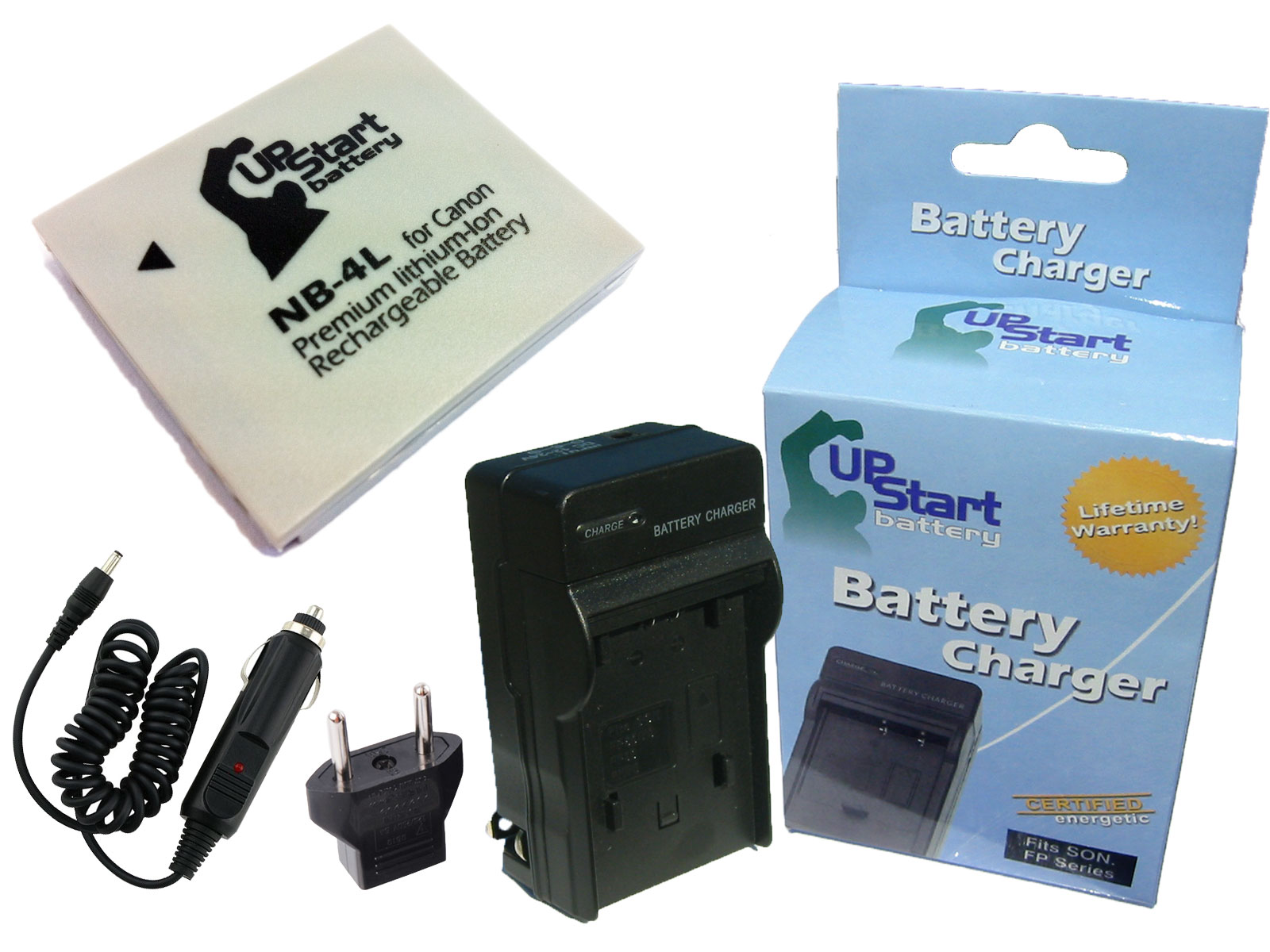 Canon PowerShot SD780 IS Battery and Charger with Car Plug and EU Adapter Replacement for Canon NB 4L Digital Camera Batteries and Chargers (890mAh,