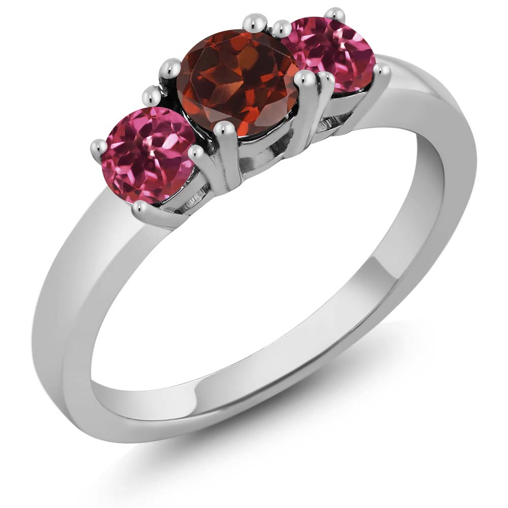 1.08 Ct Round Red Garnet Pink Tourmaline 18K White Gold 3-Stone Ring by