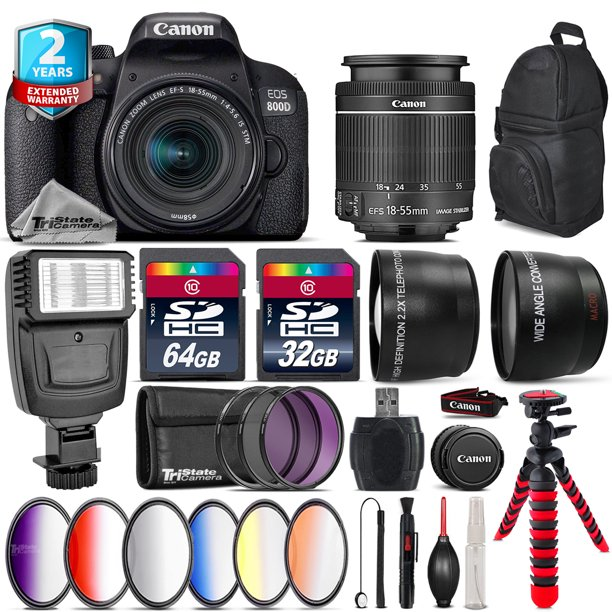 Canon EOS Rebel 800D T7i + 18-55mm IS STM + Slave Flash + 9PC Filter Kit + 96GB