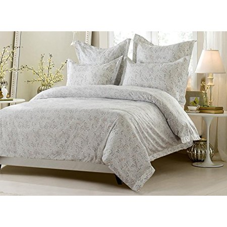 6pc Pink Grey White Floral Vine Bedding Set Includes Comforter And