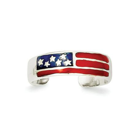 Sterling Silver Solid Polished Enameled Flag Toe Ring - 1.6 Grams