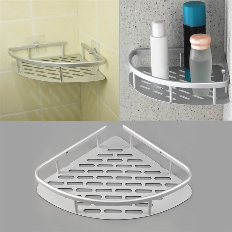 Aluminum Shower Wall Mount Corner Shelf Holder Bathroom Storage Organizer