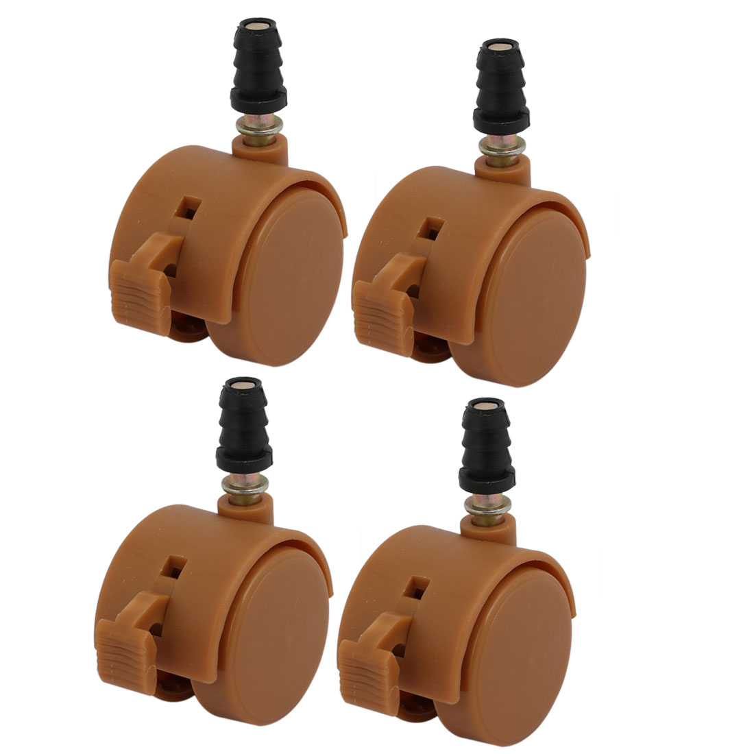 4pcs 1.5-inch Dia 6.5mm Stem Swivel Brake Caster Wheel Brown for Crib