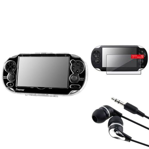 Insten For Sony PS Vita Clear Crystal Case Cover+Screen Protector+blk/Silver Headset