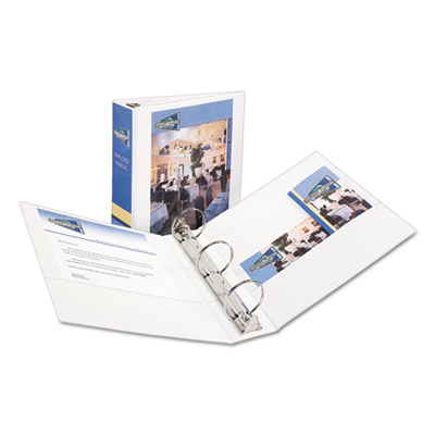 "Economy View Binder w/Round Rings, 11 x 8 1/2, 3"" Cap, White, Sold as 1 Each"