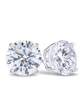 10k White Gold 4 Carat Round White Sapphire Stud Earrings