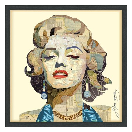 Empire Art Direct DAC-048-2525B Hand Made Signed Art Collage by EAD Artists Co-Op Under Tempered Glass in Black Frame - Homage to Marilyn
