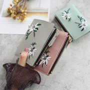 Women Wallet PU Leather Print Flower Cash Pocket Photo MiniClutch Short Purse
