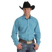 Cinch Western Shirt Mens L/S Plaid Dual Pockets Turquoise MTW1107034