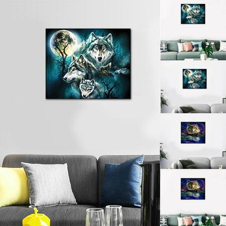 Decor Kit (Wolf Full Drill Canvas Wall Art DIY 5D Diamond Painting Embroidery Cross Crafts Stitch Kit Home livingroom)