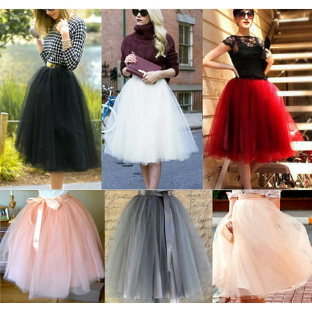 Fashion New 7 Layer Tulle Skirt Womens Vintage Dress 50s Rockabilly Tutu Petticoat Ball Gown