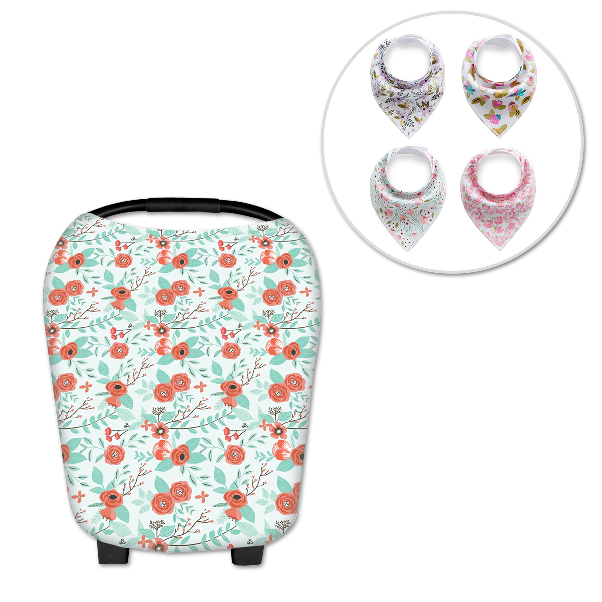 Multi-Use Nursing Breastfeeding Cover Stretchy Baby Stroller Cover Scarf and Baby Drooling Bibs for Moms Baby