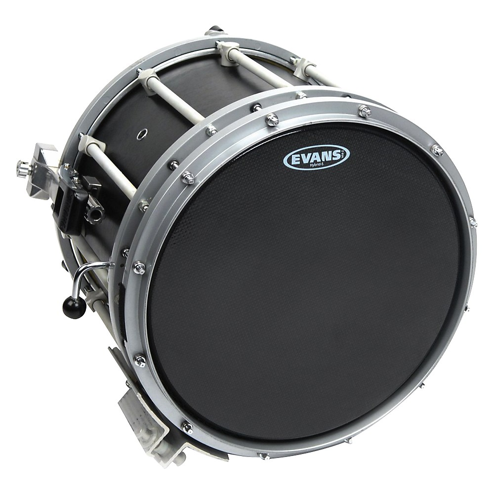 Evans Hybrid-Soft Marching Snare Drum Batter Head Black 14 in. by Evans
