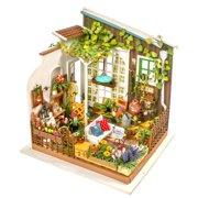 DIY 3D Dollhouse wooden puzzle Kit Miniature Miller's Garden w/ LED Light