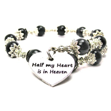 Chubby Chico Charms Half My Heart Is In Heaven Cat's Eye Wrap Charm Bracelet in Black
