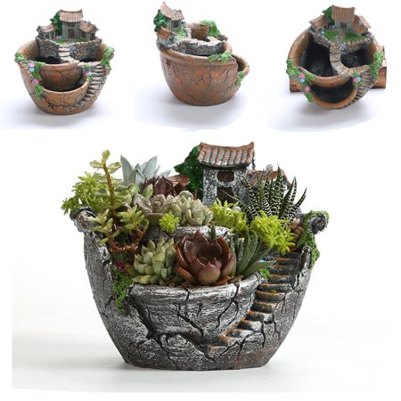 Resin Garden Cactus Succulent Plant Pot Herb Flower Planter Box Nursery Pots Home Room Decor Ornament