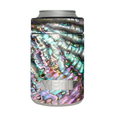 Skin Decal For Yeti 12 Oz Rambler Colster Can Cup / Abalone Pink Green Purple Sea -