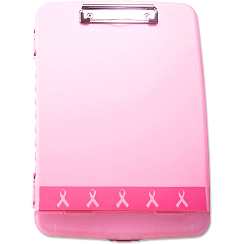 "Officemate Breast Cancer Awareness 3/4"" Clipboard Box, 8-1/2"" x 11"", Pink"