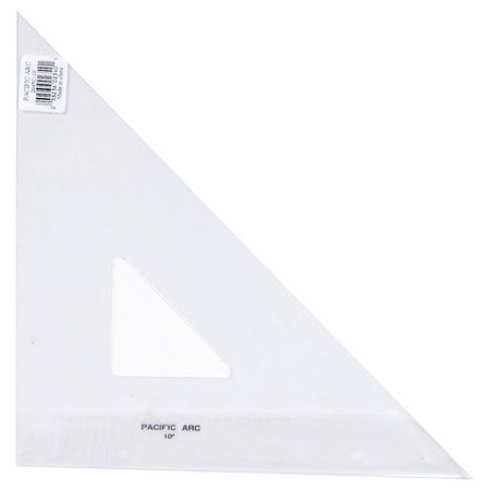 PACIFIC ARC 2045C10 TRIANGLE 45/90 CLEAR ACRYLIC PLAIN EDGE 10 INCH