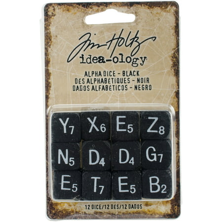 Idea-Ology Alpha Dice 12/Pkg-Black W/White .5