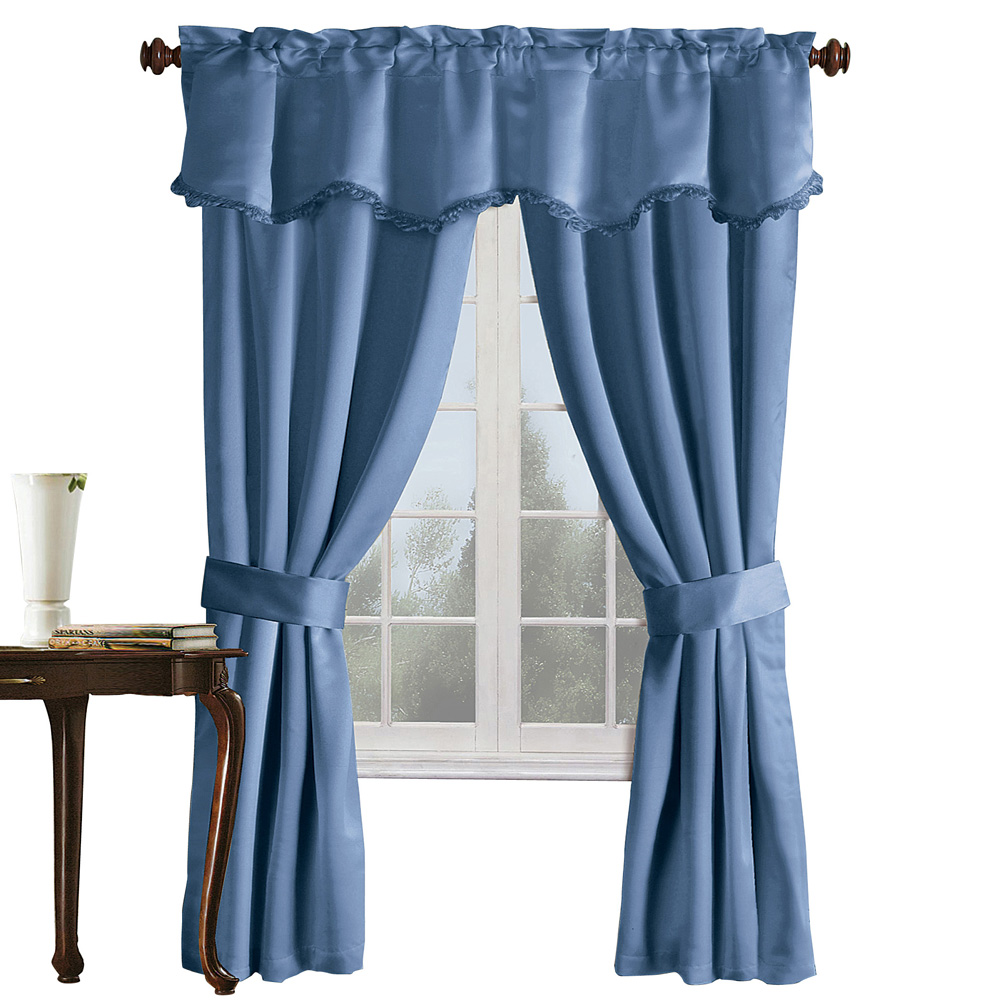 "Burlington Black Out Drapery Set with Valance and Tiebacks, 99 Percent Light Blocking, Insulating and Noise Reducing Curtains, 5 Pc, 52"" X 63"", Blue"